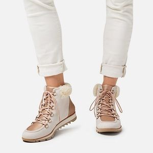 Sorel Harlow Lux Suede Leather Lace Up Boots
